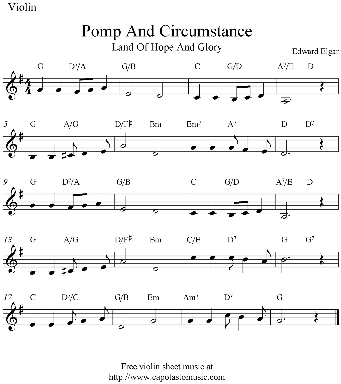 Free Sheet Music Scores: Pomp And Circumstance (Land Of Hope And - Free Printable Sheet Music Pomp And Circumstance