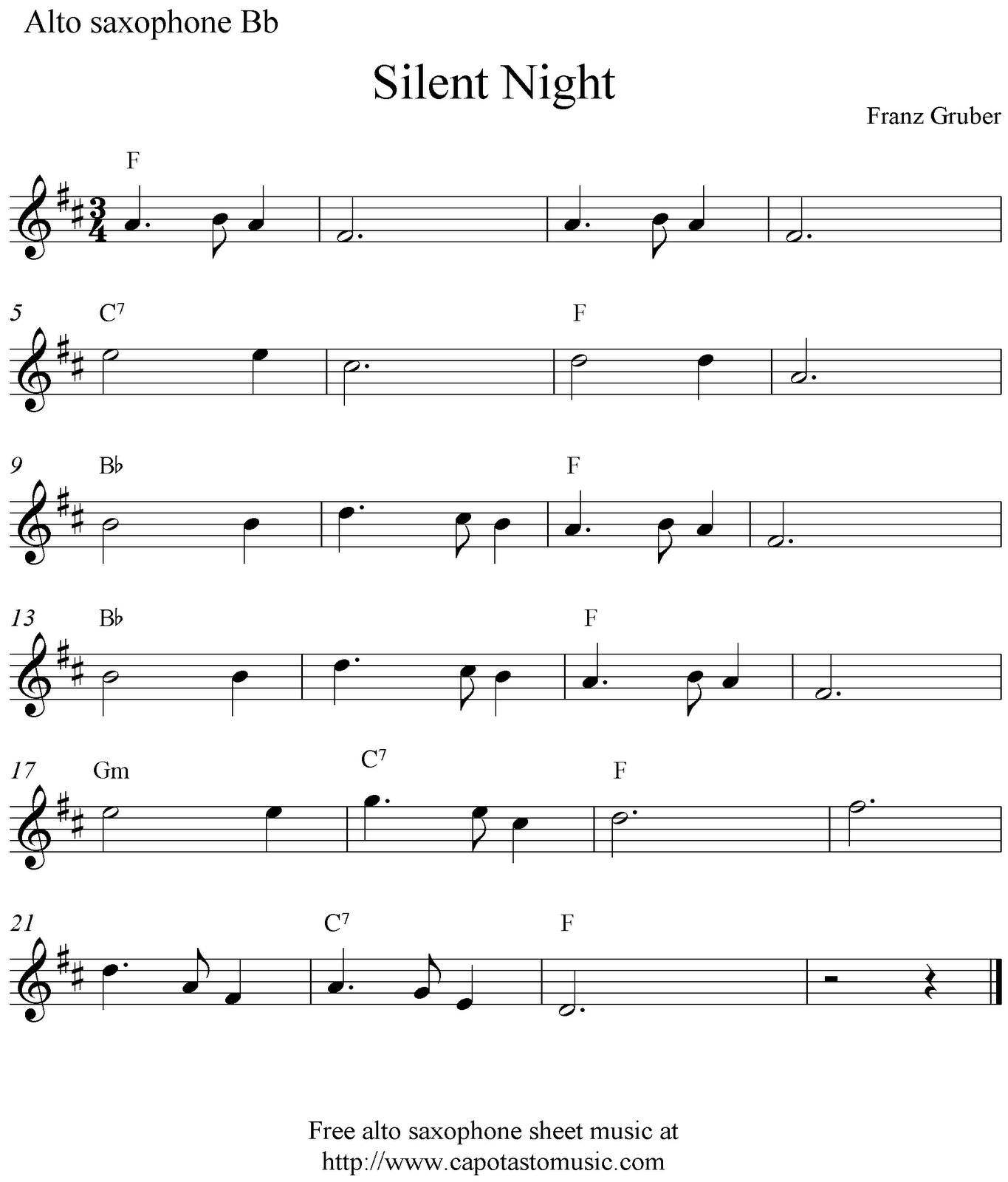 Free Sheet Music Scores: Silent Night, Free Christmas Alto Saxophone - Free Printable Christmas Sheet Music For Alto Saxophone