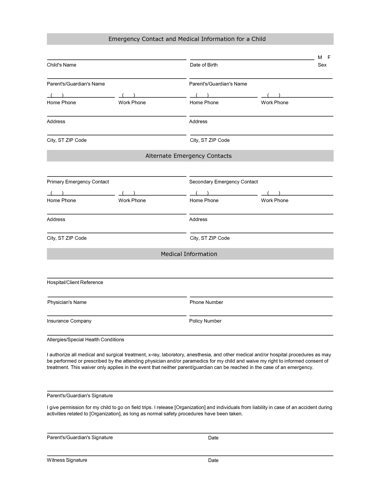 Free Student Information Sheet Template | Student Emergency Contact - Free Printable Medical Forms