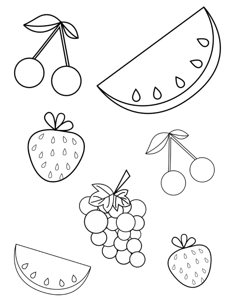 Free Summer Fruits Coloring Page Pdf For Toddlers & Preschoolers - Free Printable Coloring Pages For Toddlers