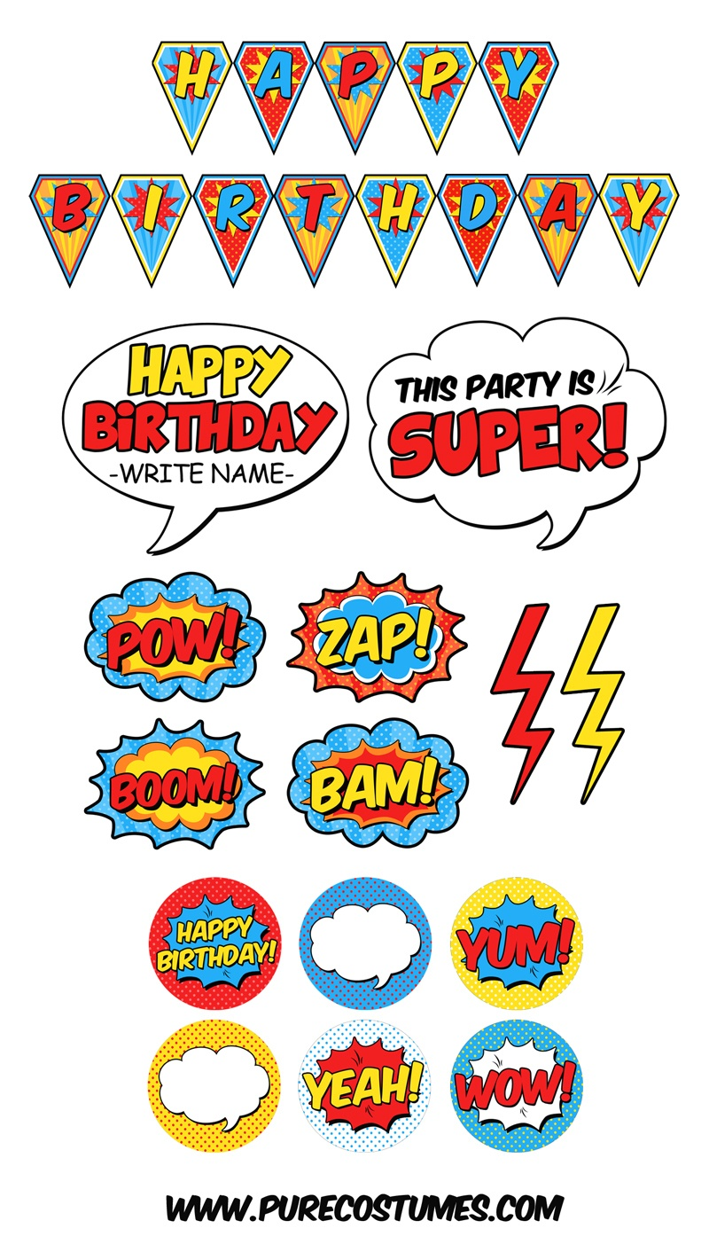 Free Superhero Pary Printables - Free Printable Superhero Photo Booth Props
