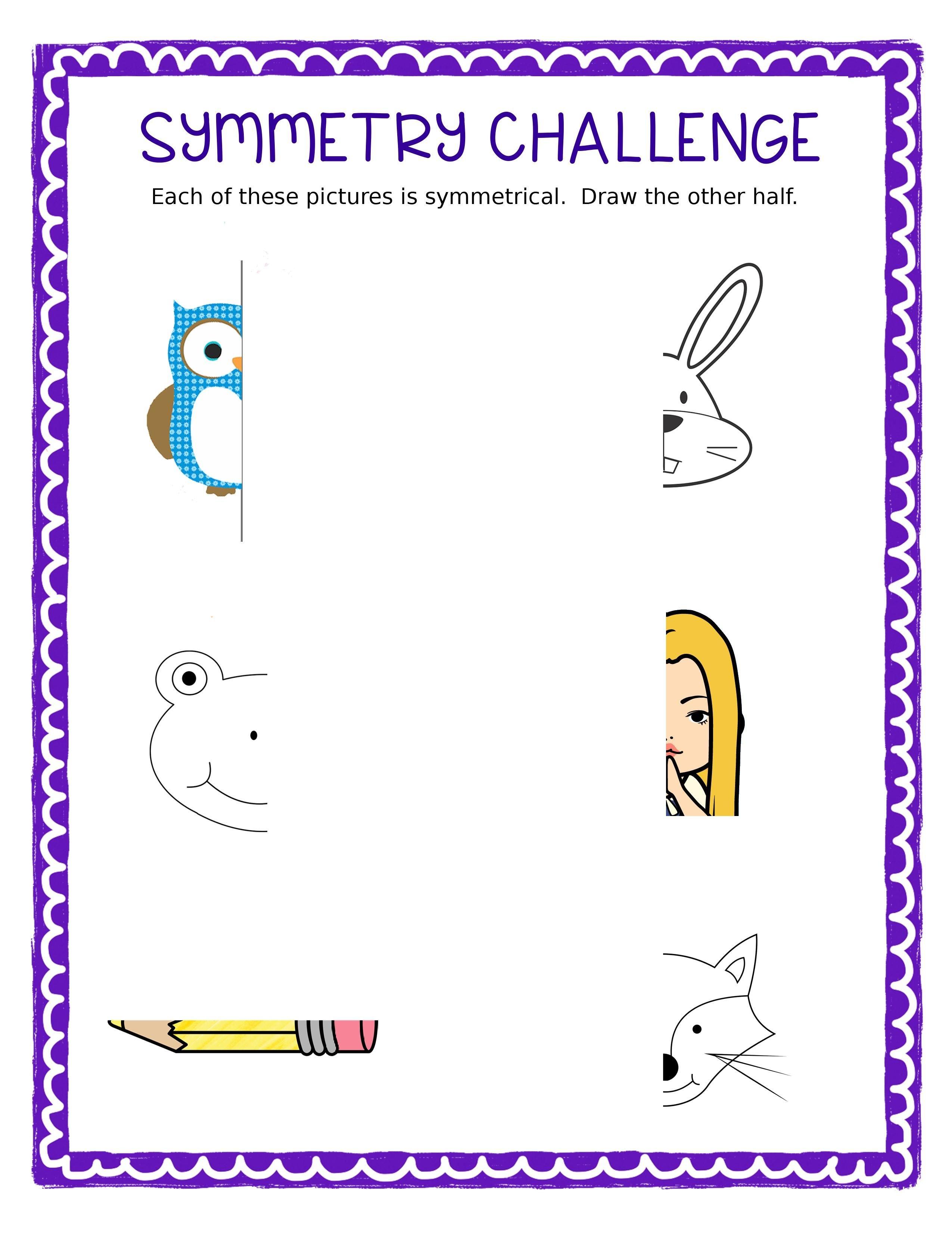 Free Symmetry Challenge Sheet | Cc Art | Art Lessons Elementary - Free Printable Bell Ringers