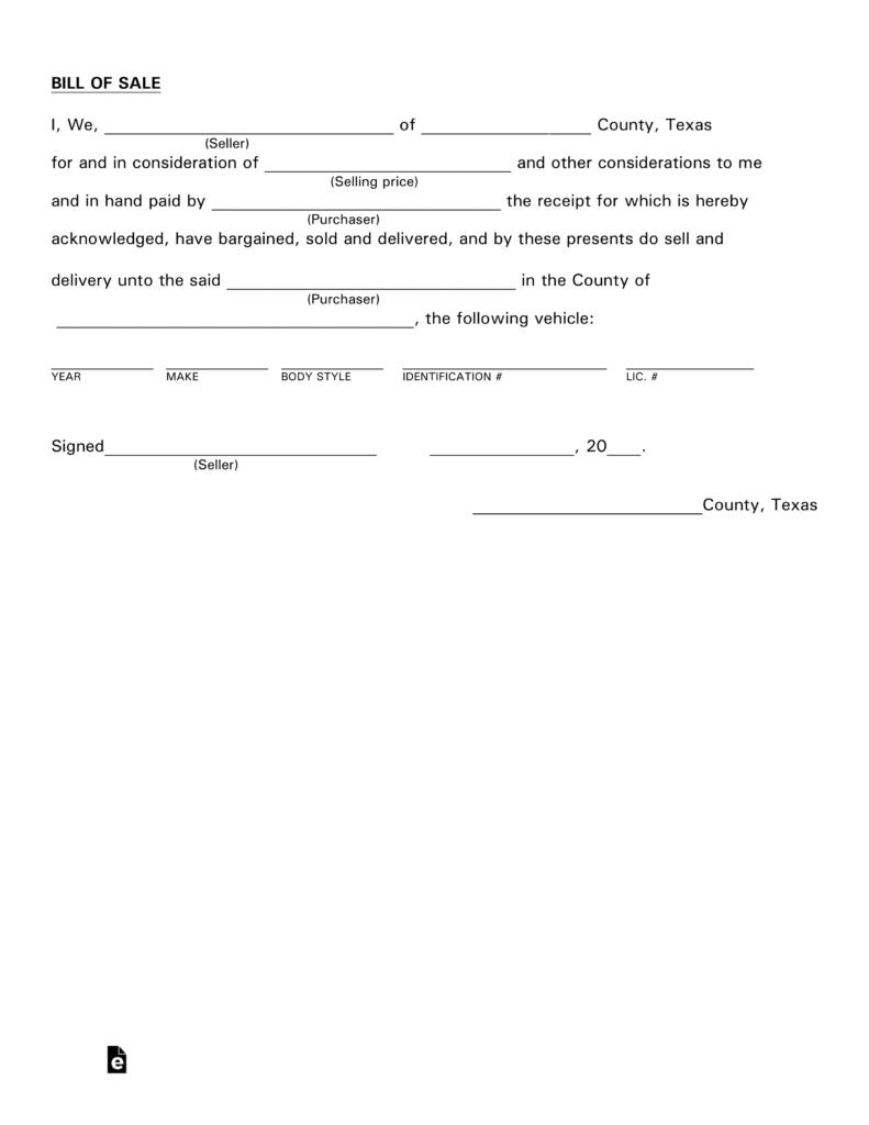 Free Texas Motor Vehicle Bill Of Sale Form - Pdf   Eforms – Free - Free Printable Bill Of Sale For Car