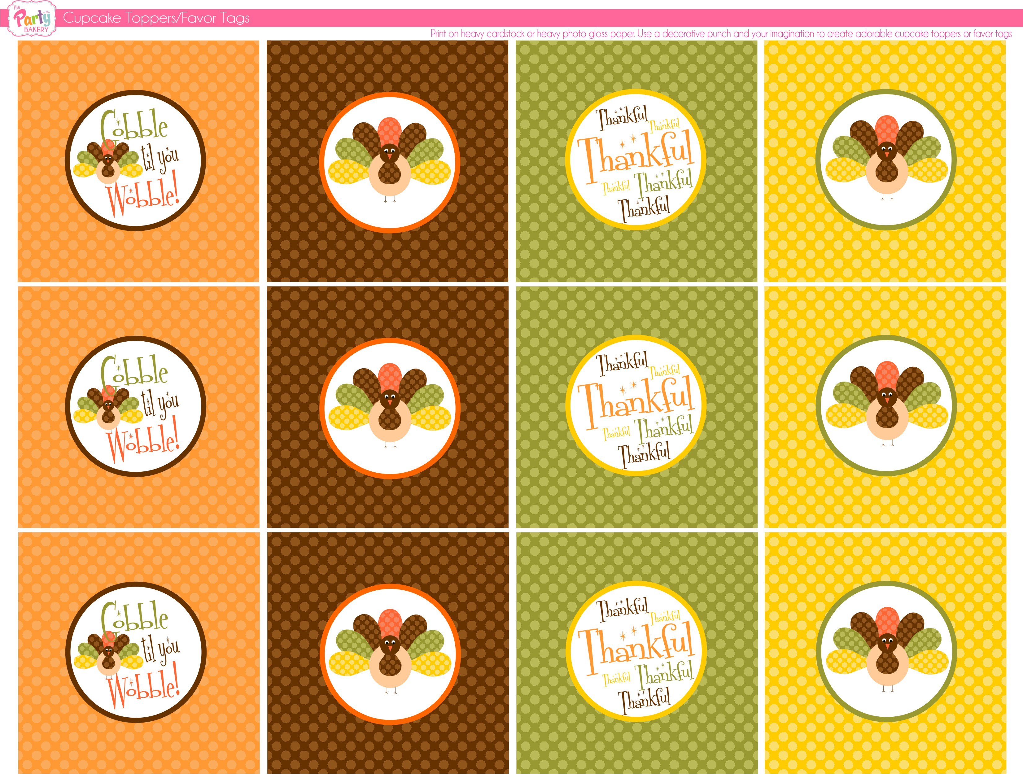 Free Thanksgiving Printables From The Party Bakery   Catch My Party - Free Printable For Thanksgiving