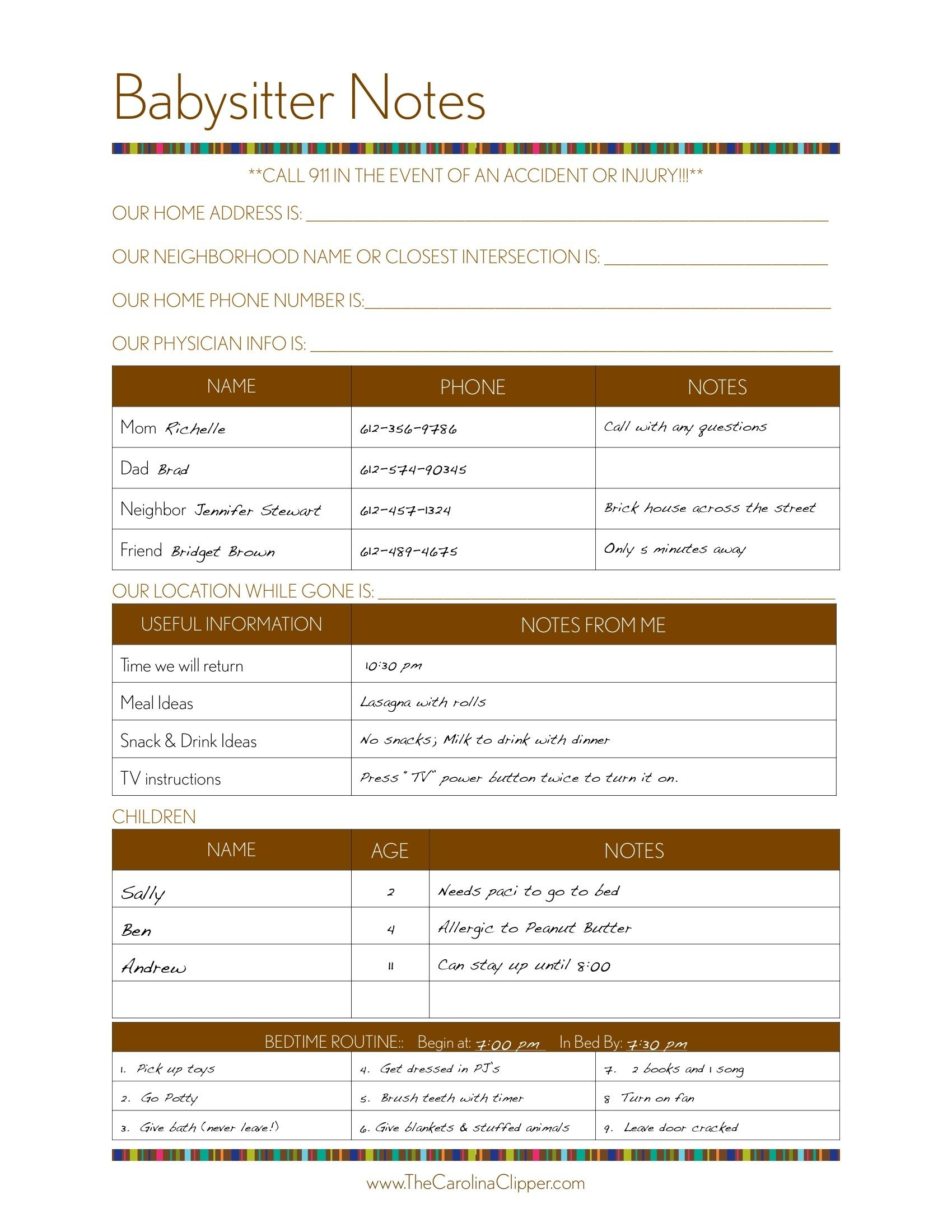 Free To Print Babysitter Notes-Laminate The Babysitter Notes Sh - Babysitter Notes Free Printable
