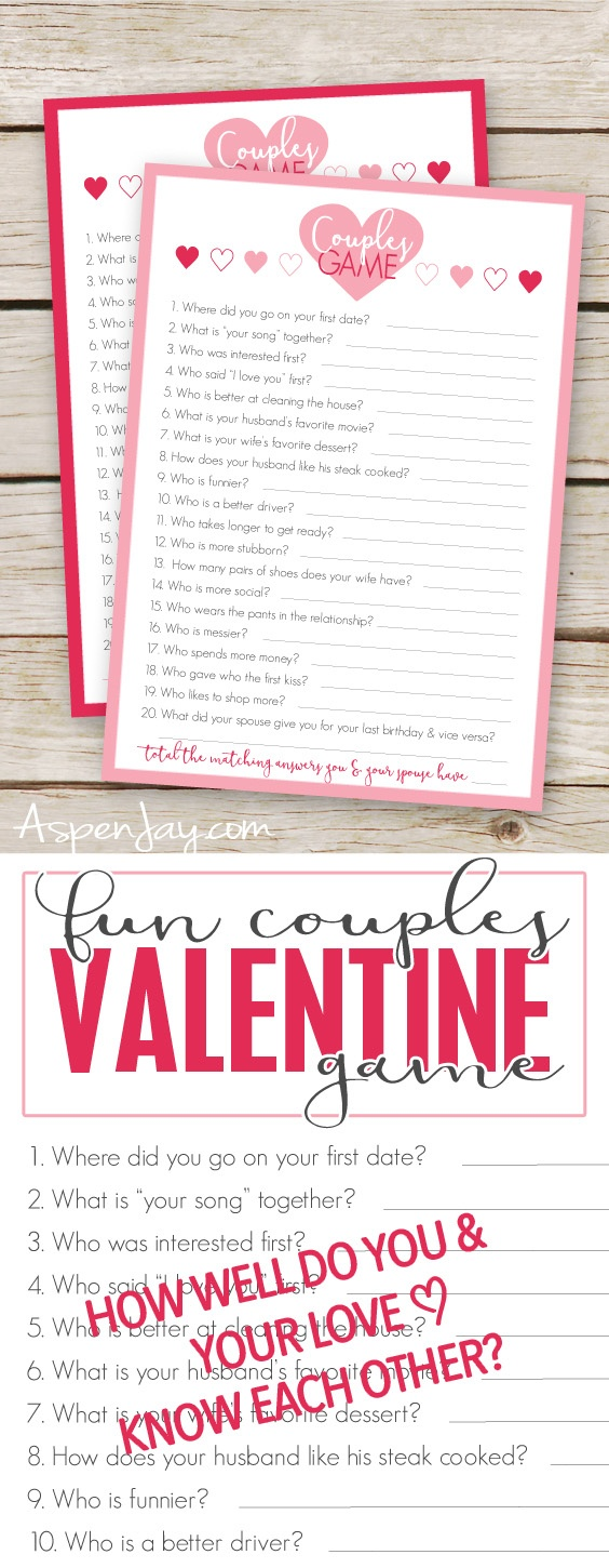 Free Valentines Couples Game Cards - Aspen Jay - Free Valentine Printable Cards For Husband