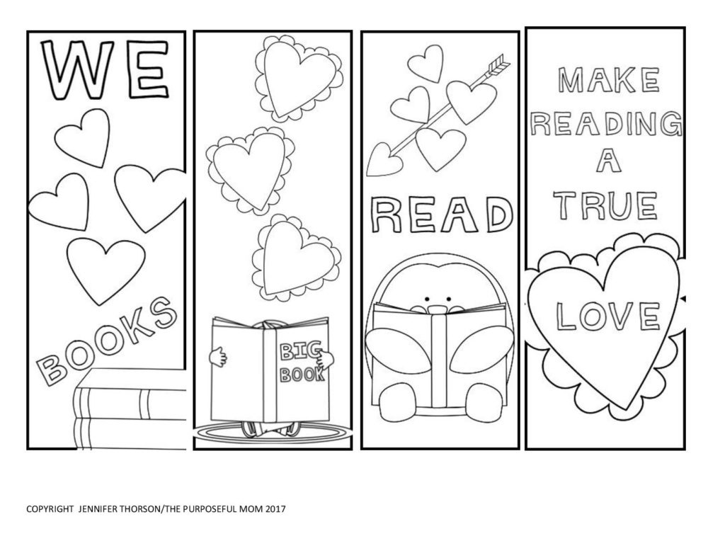 Free Valentine's Day Bookmarks To Color! - The Purposeful Mom - Free Printable Valentine Bookmarks