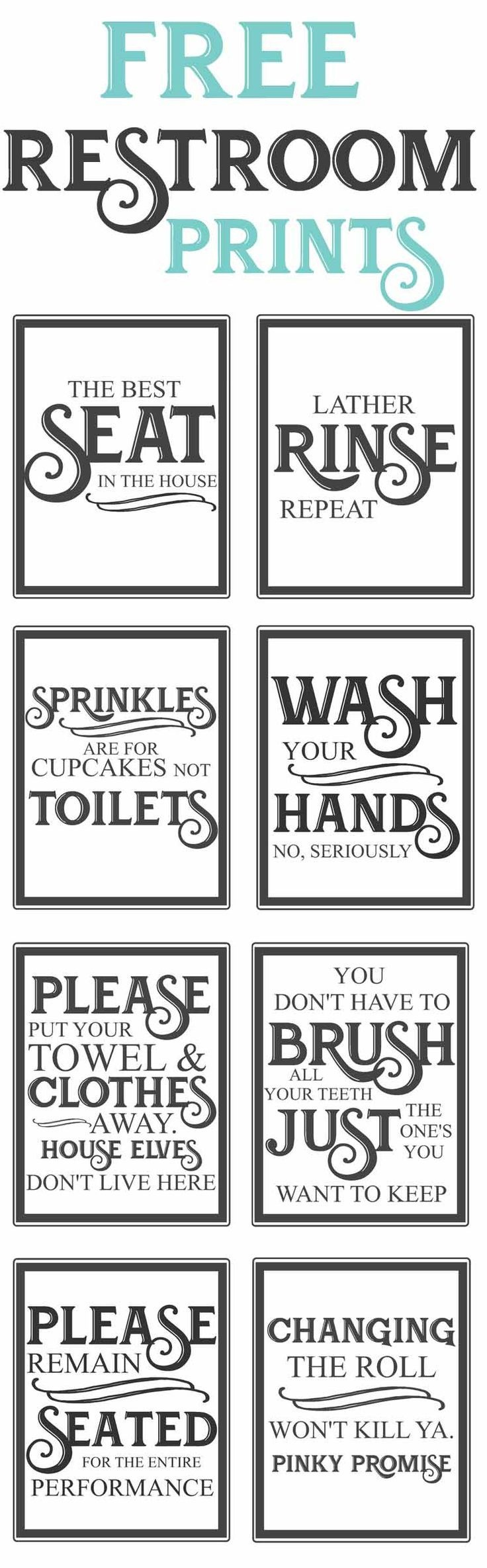 Free Vintage Bathroom Printables | Farmhouse | Diy Home Decor, Easy - Free Printable Flush The Toilet Signs