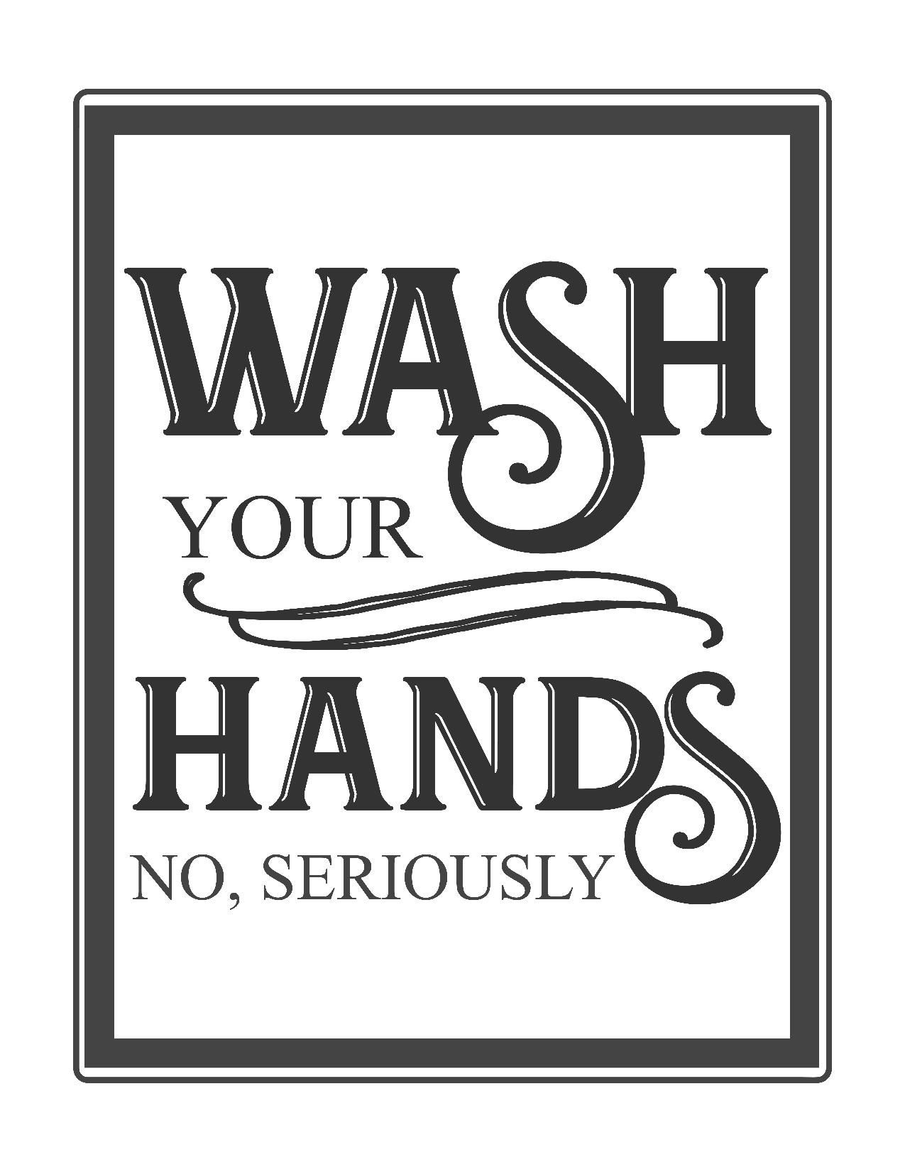 Free Vintage Bathroom Printables | Printables ** | Budget Bathroom - Free Wash Your Hands Signs Printable