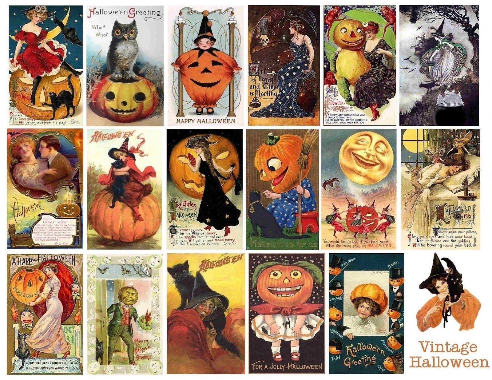Free Vintage Printable - Halloween Collage Sheet {300 Dpi} | More - Free Printable Vintage Halloween Images
