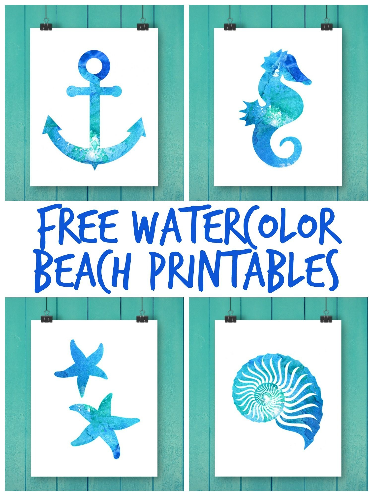 Free Watercolor Beach Printables | Printable Art | Beach Watercolor - Free Printable Beach Pictures