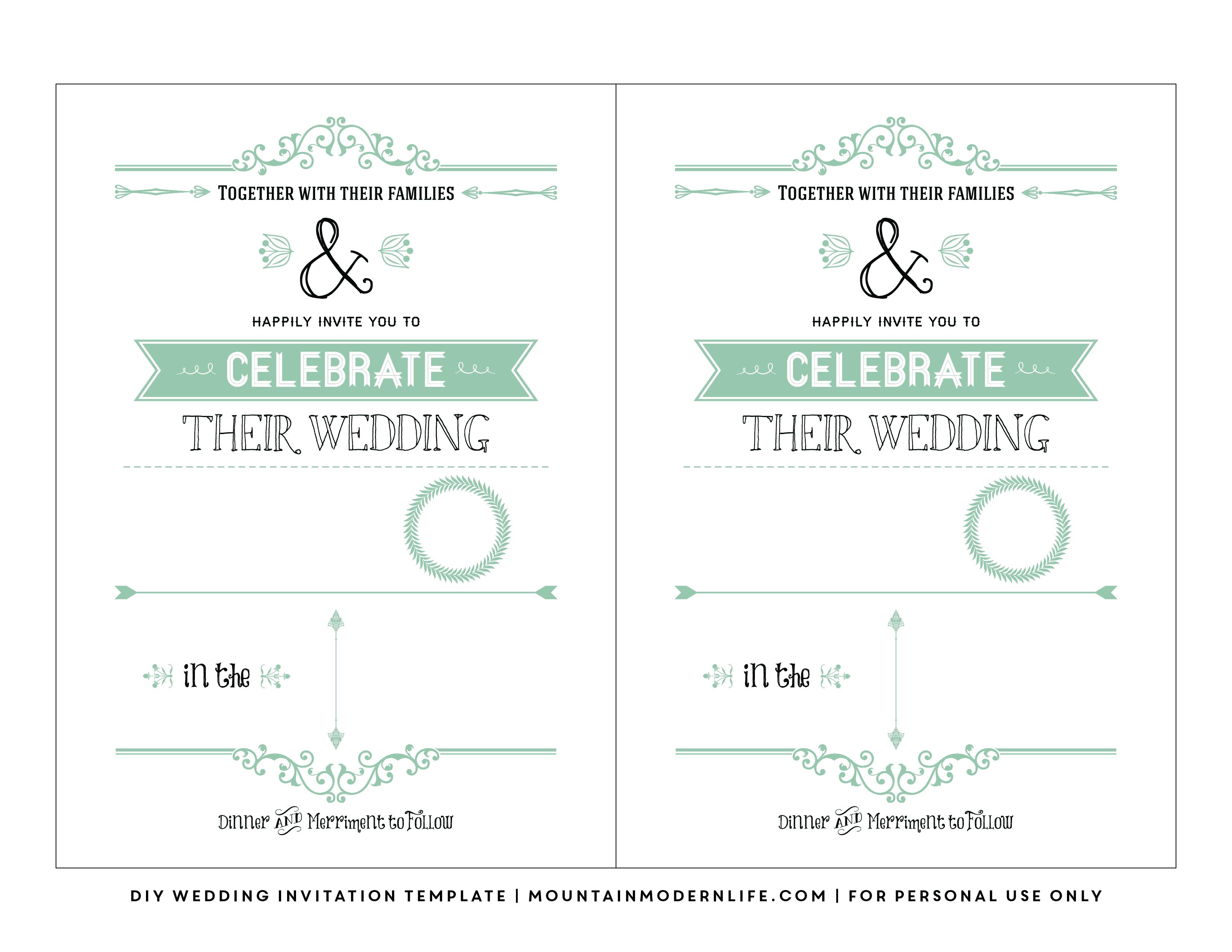 Free Wedding Invitation Template   Mountainmodernlife - Free Printable Wedding Invitation Templates