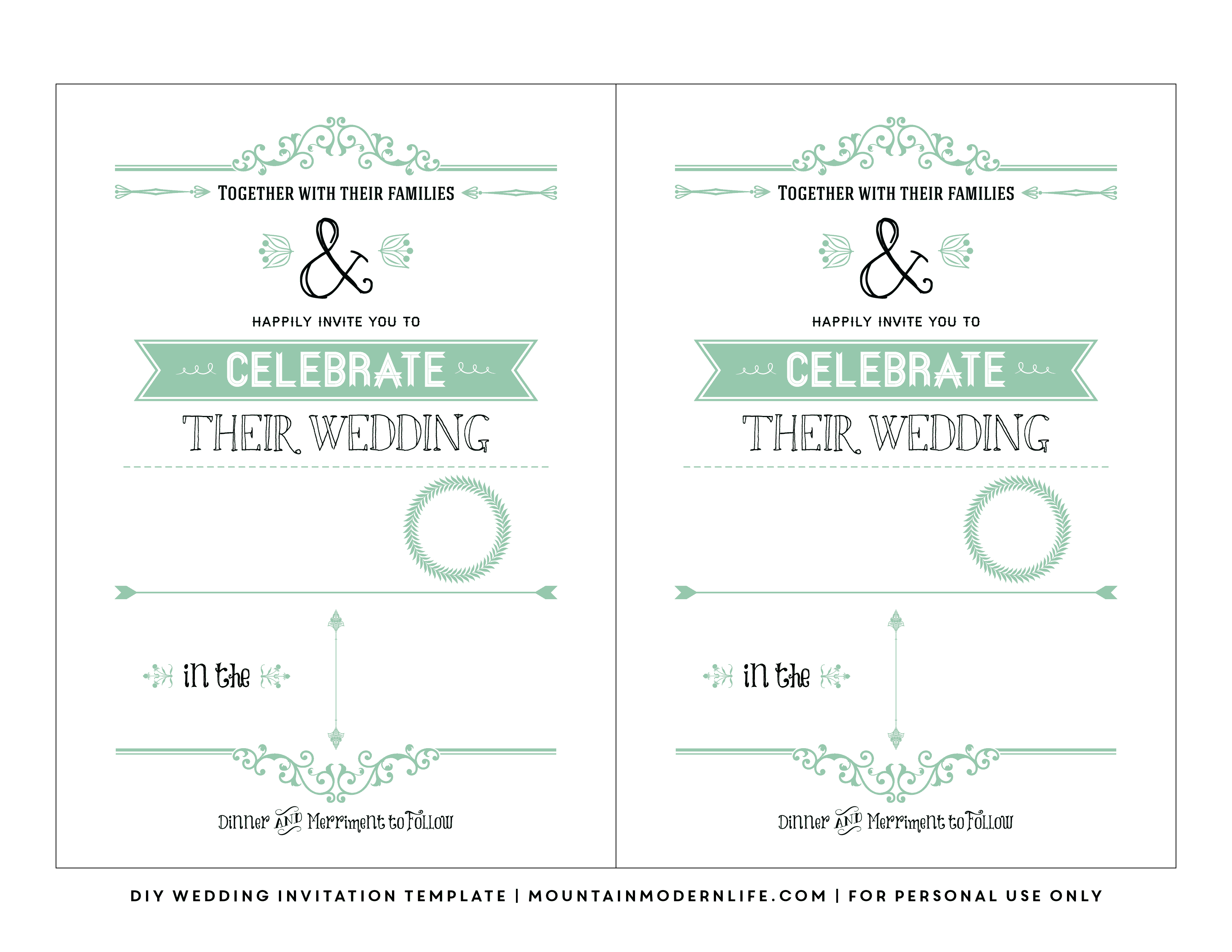 Free Wedding Invitation Template | Mountainmodernlife - Free Printable Wedding Invitations Templates Downloads