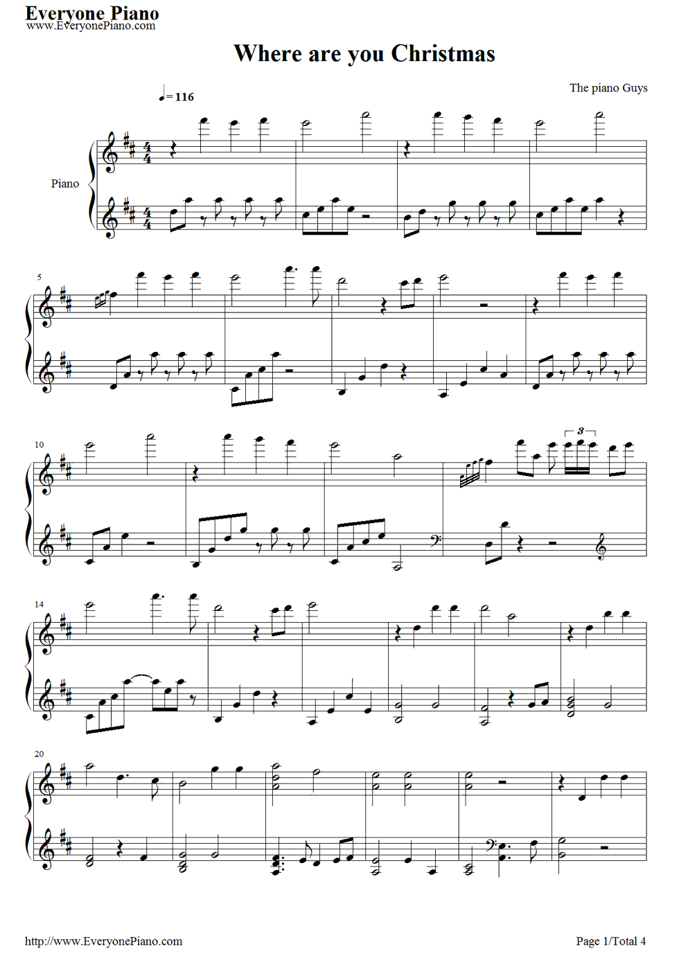 Free Where Are You Christmas-The Piano Guys Sheet Music Preview 1 - Christmas Music For Piano Free Printable