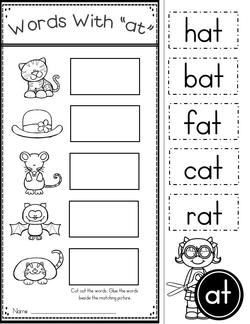 Free Word Family At Practice Printables And Activities | Classroom - Free Printable Cvc Worksheets