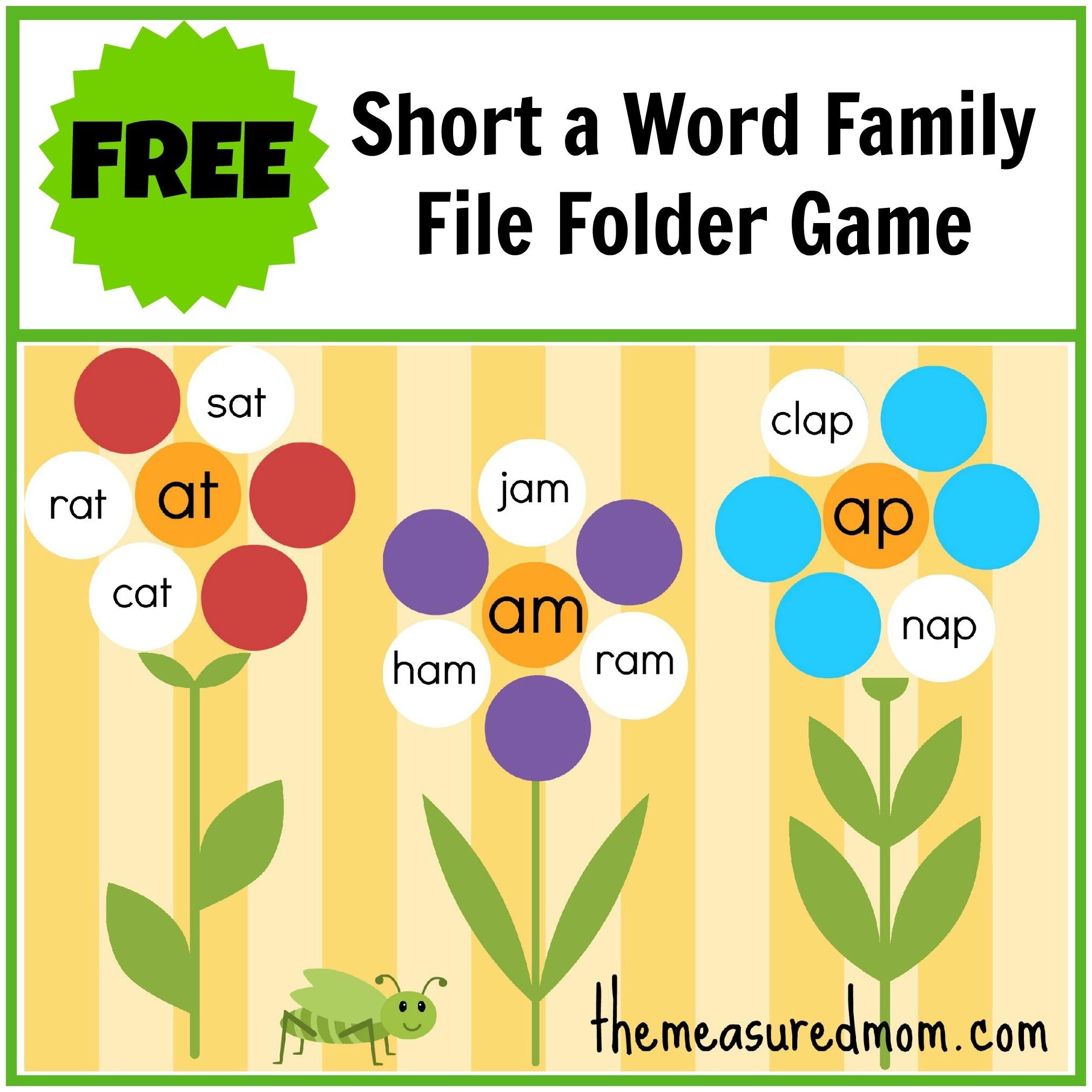 Free Word Family File Folder Game: Short A - The Measured Mom - Free Printable Folder Games