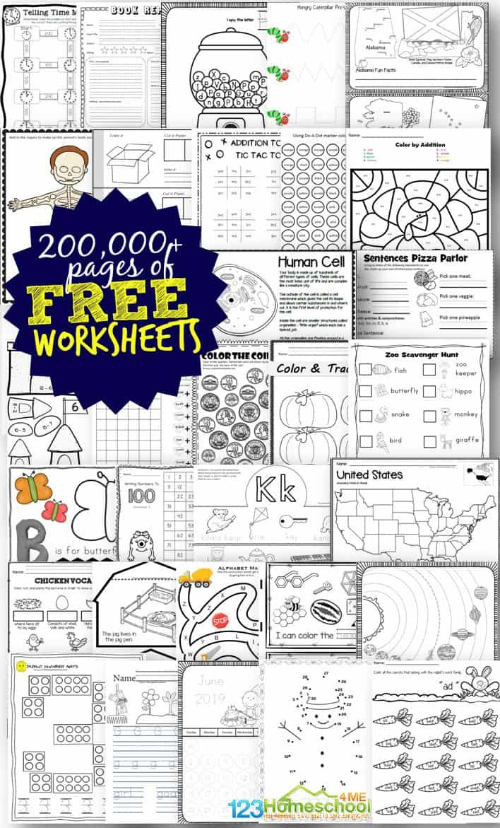 Free Worksheets - 200,000+ For Prek-6Th | 123 Homeschool 4 Me - Free Printable Pre K Reading Books