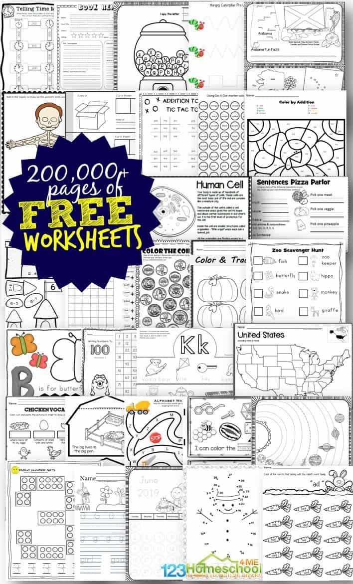 Free Worksheets - 200,000+ For Prek-6Th   123 Homeschool 4 Me - Www Free Printable Worksheets