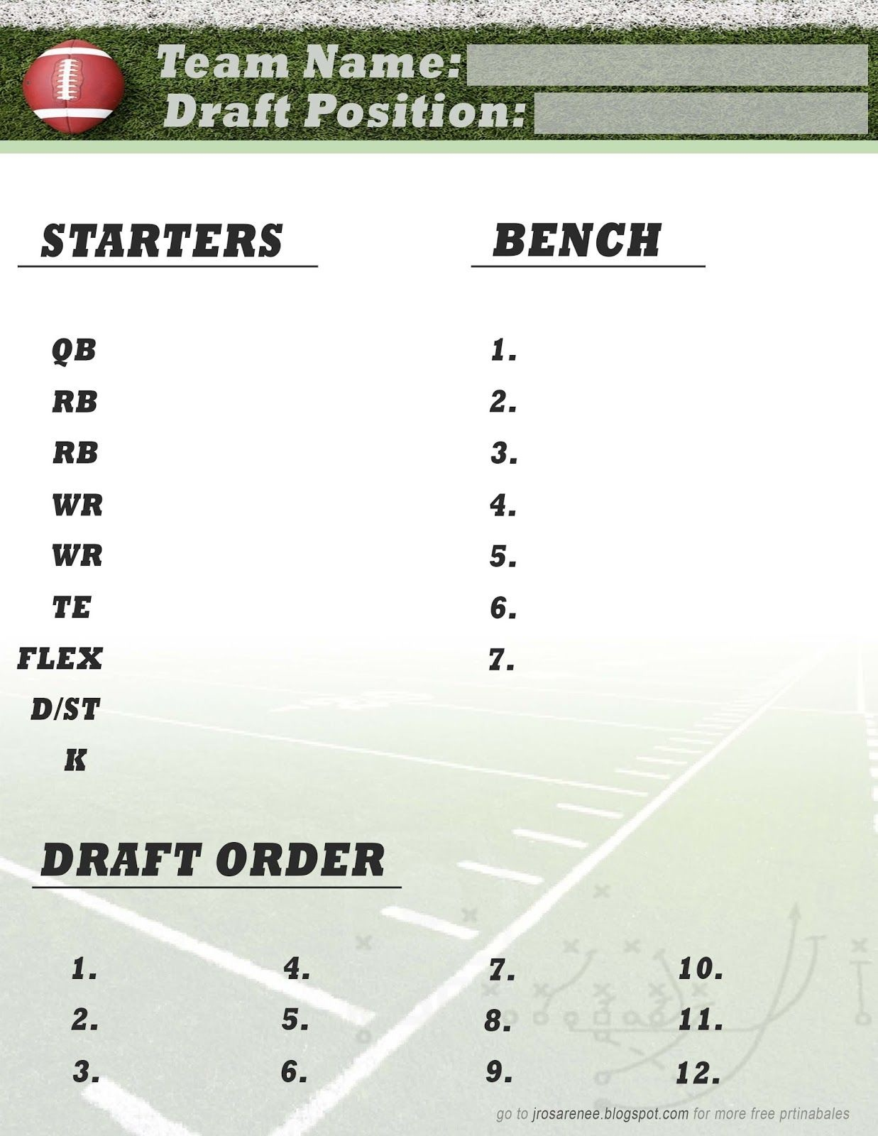 Freebie Friday, Fantasy Football Roster #free #printable   Great - Free Fantasy Football Printable Draft Sheets
