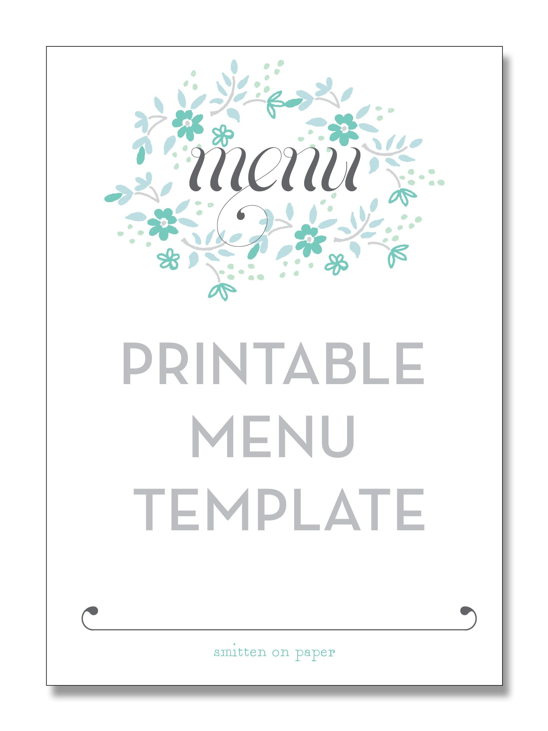 Freebie Friday: Printable Menu | Party Time! | Printable Menu, Menu - Free Printable Christmas Dinner Menu Template