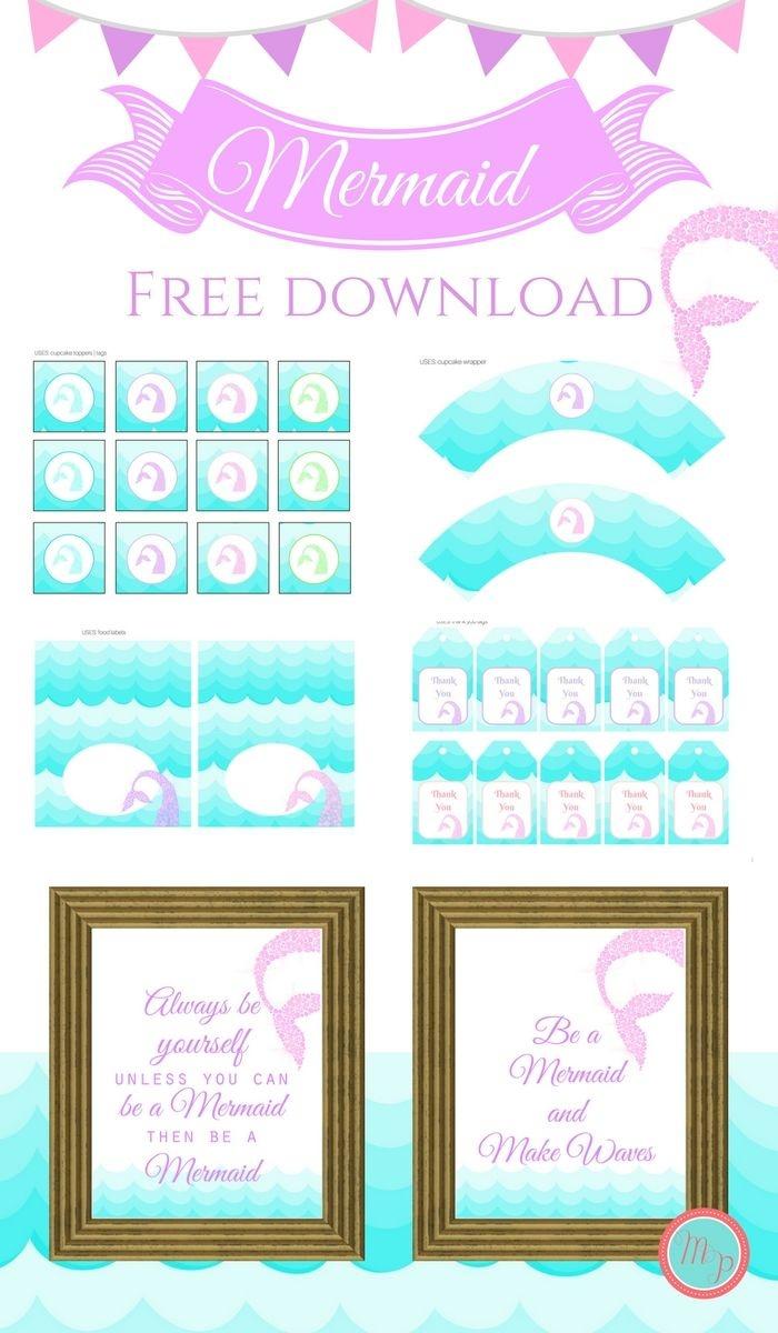 Freebies | Printables | Mermaid Party Decorations, Mermaid Birthday - Free Printable Mermaid Thank You Cards
