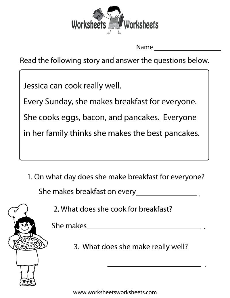 Freeeducation/worksheets For Second Grade |  Comprehension - Free Printable Ela Worksheets