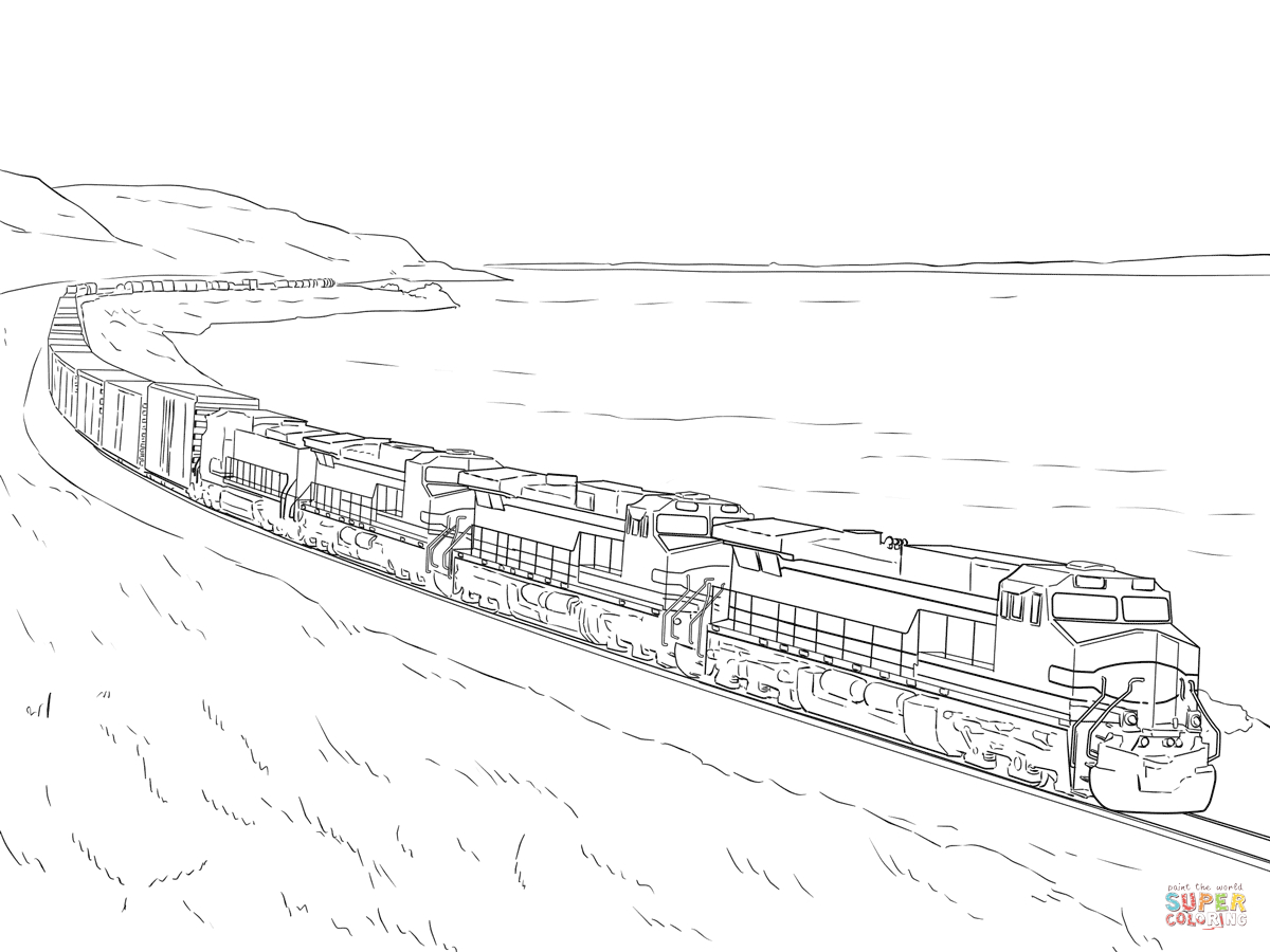 Freight Train Coloring Page | Free Printable Coloring Pages - Free Printable Train Pictures