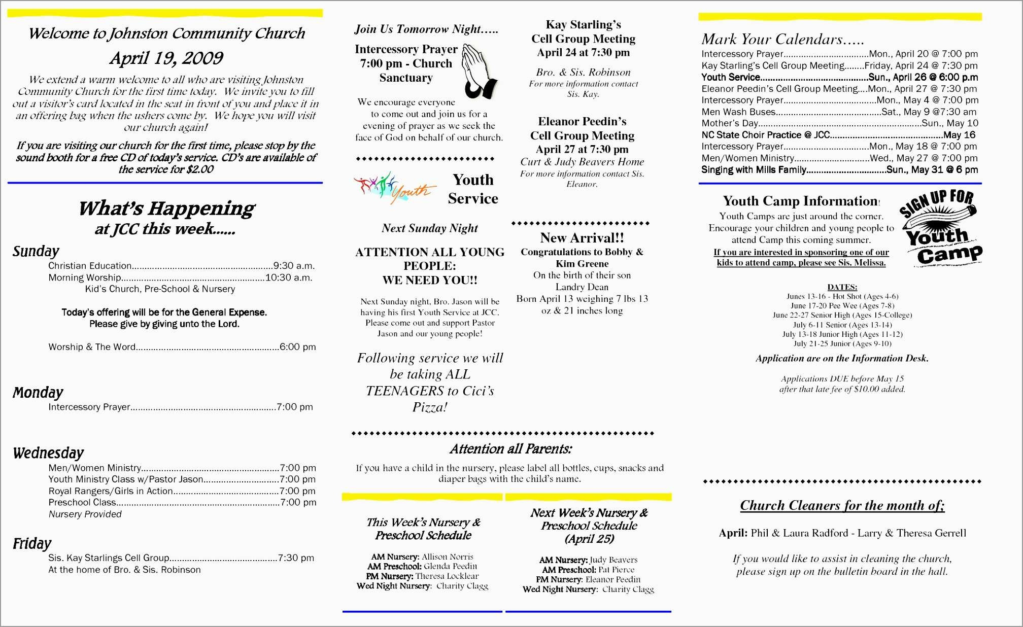 Fresh Free News Bulletin Templates | Best Of Template - Free Printable Church Bulletin Covers