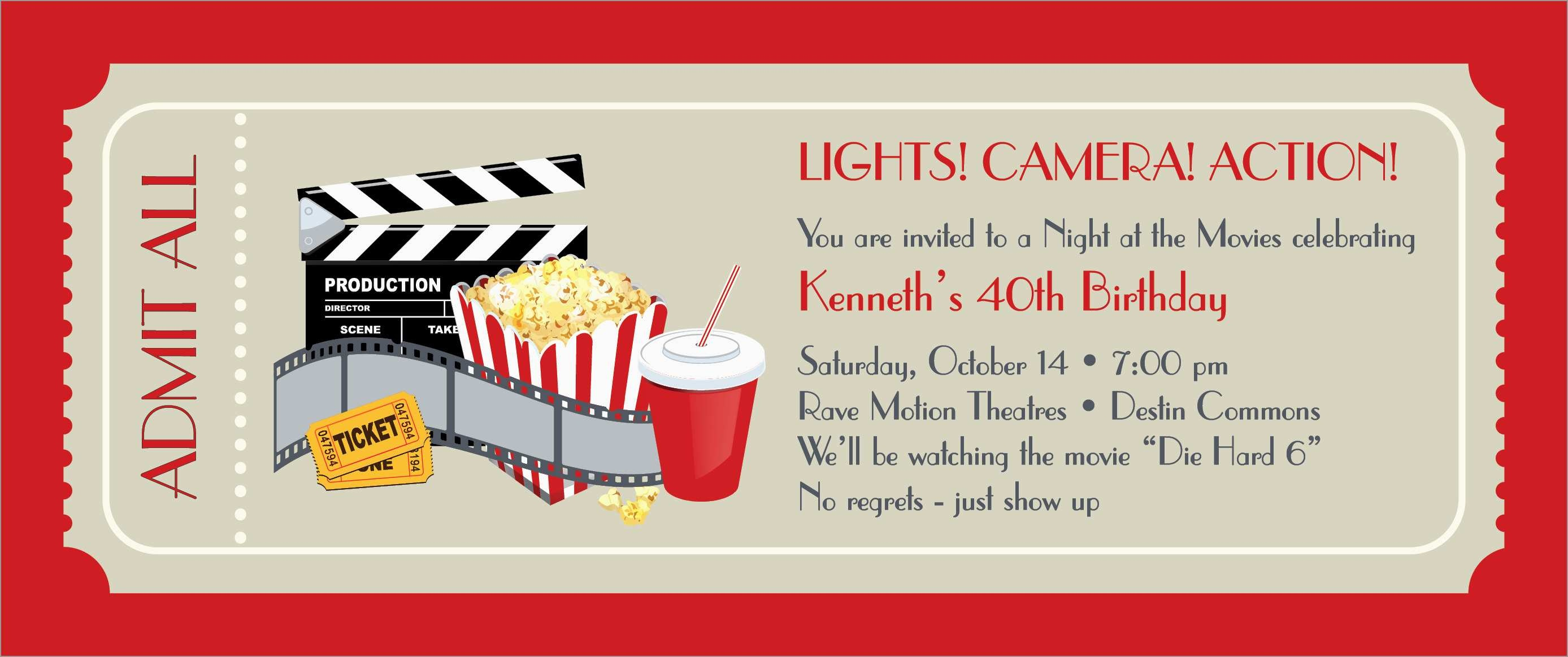 Fresh Movie Party Invitations Free Template | Best Of Template - Free Printable Movie Ticket Birthday Party Invitations