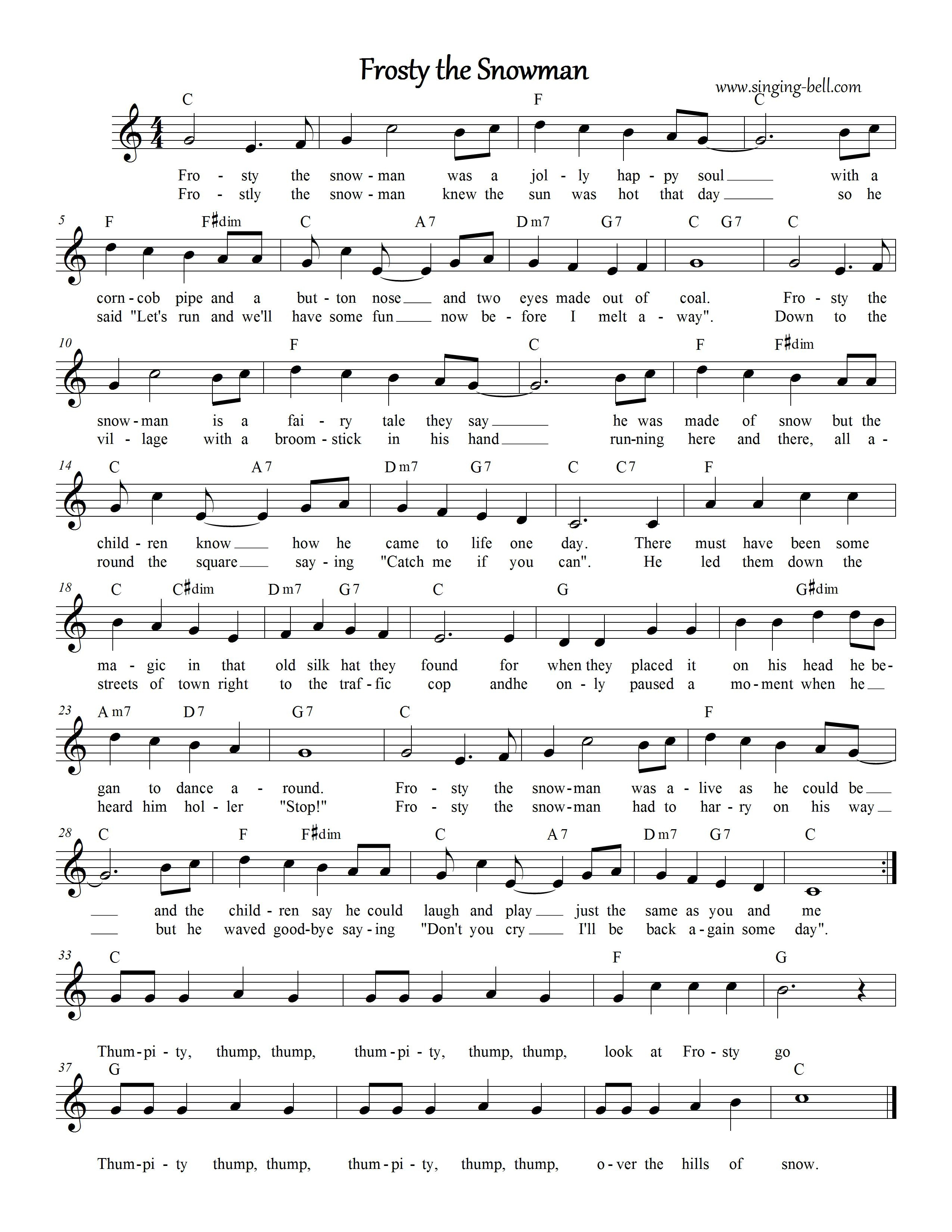 Frosty The Snowman | Free Christmas Carols Karaoke - Free Printable Frosty The Snowman Sheet Music