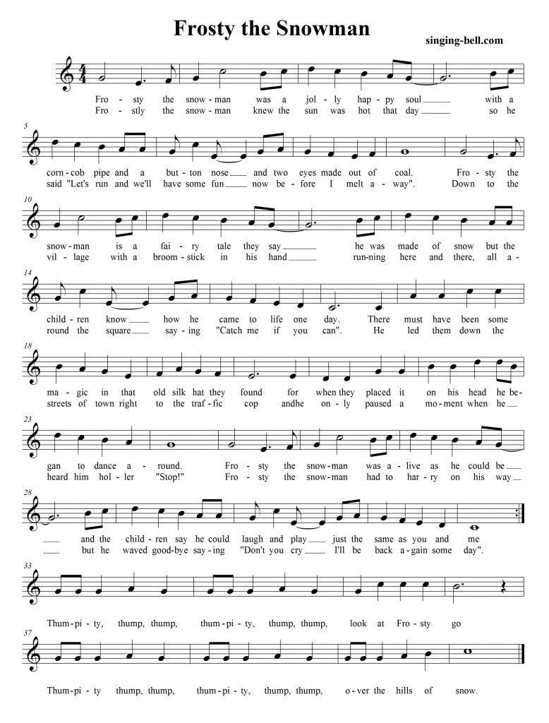 Frosty The Snowman | Free Xmas Music Scores/sheets | Christmas Sheet - Free Printable Frosty The Snowman Sheet Music