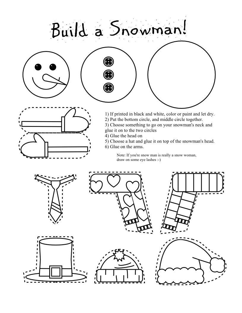 Frugal Edmonton Mama: Frugal Crafts: Preschool Snowman Shape Cutting - Free Printable Crafts For Preschoolers
