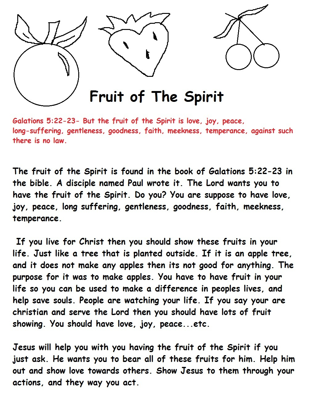 Fruit Of The Spirit Sunday School Lesson - Free Printable Sunday School Lessons For Kids