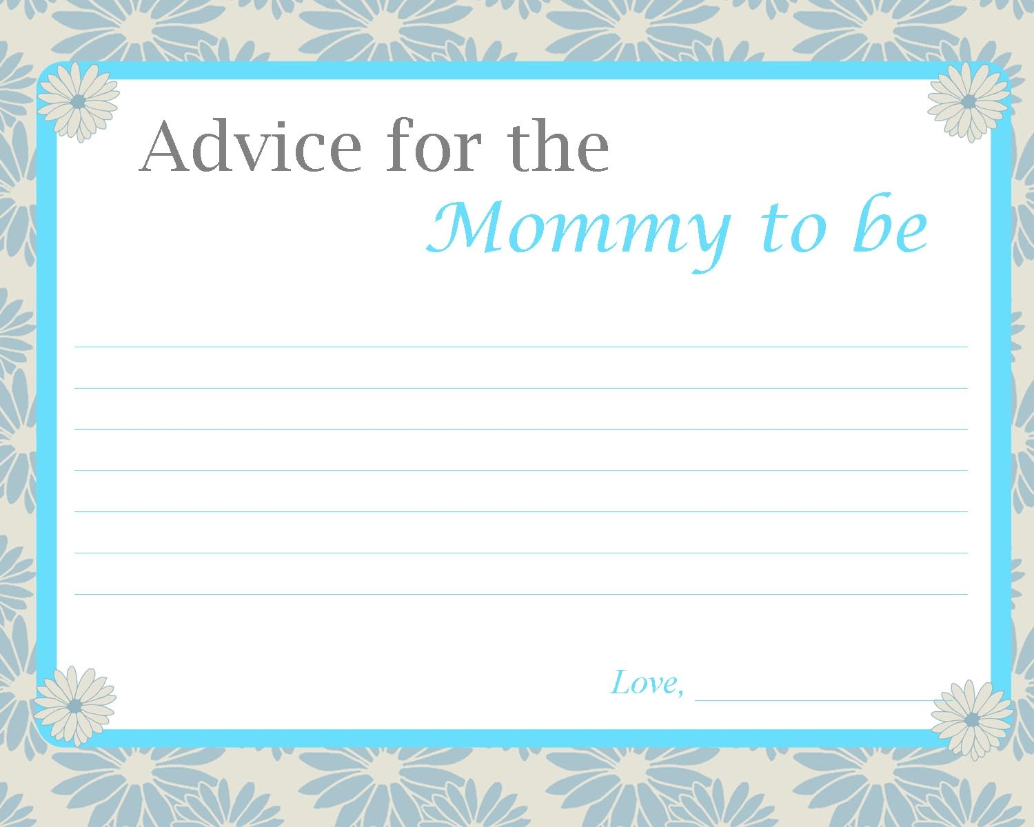 Fun Baby Shower Activities - Free Mommy Advice Cards Printable