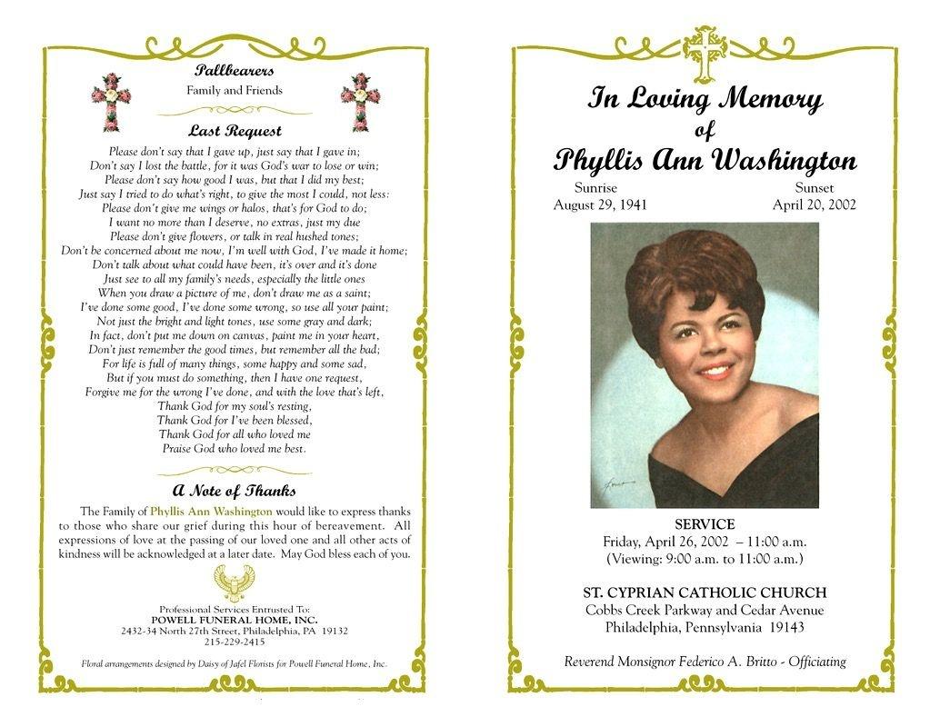 Funeral Program Template Sample Free Loving Memory Templates : Masir - Free Printable Funeral Program Template