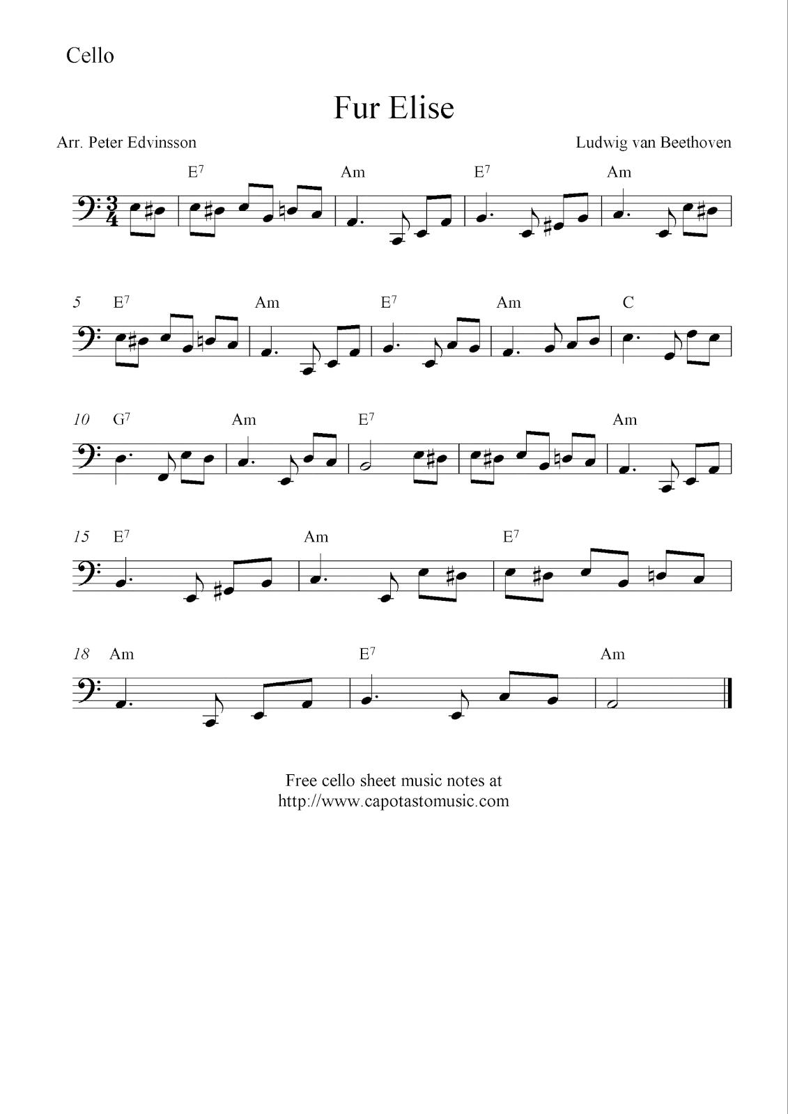 Fur Elise, Free Cello Sheet Music Notes - Free Printable Piano Sheet Music Fur Elise