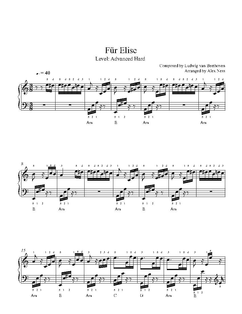 Für Eliseludwig Van Beethoven Piano Sheet Music   Advanced Level - Free Printable Piano Sheet Music Fur Elise