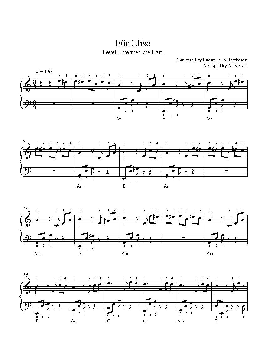 Für Eliseludwig Van Beethoven Piano Sheet Music   Intermediate Level - Free Printable Piano Sheet Music Fur Elise