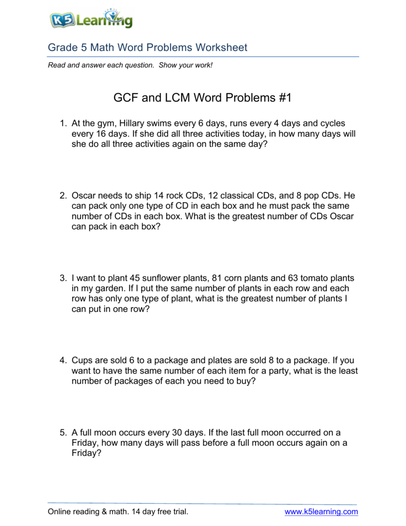 Gcf And Lcm Word Problems #1 - Free Printable Lcm Worksheets