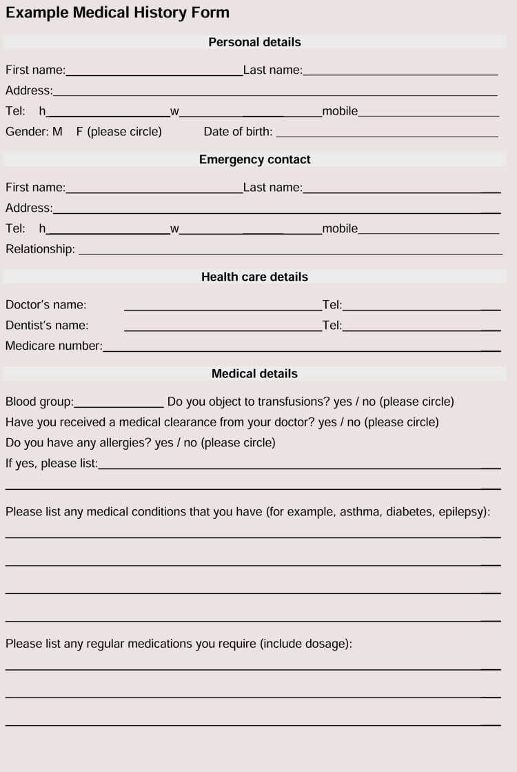 General Medical History Forms (100% Free) - [Word, Pdf] - Free Printable Personal Medical History Forms