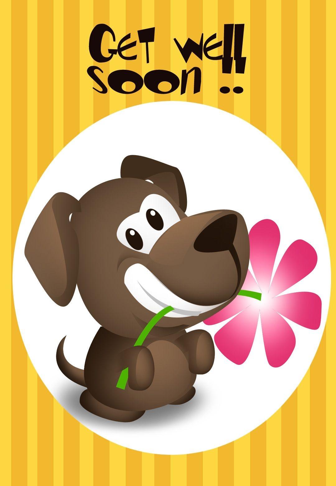 Get Well Soon Puppy Greeting Card   * Prenten 18/ Beterschap - Sterkte * - Free Printable Get Well Soon Cards