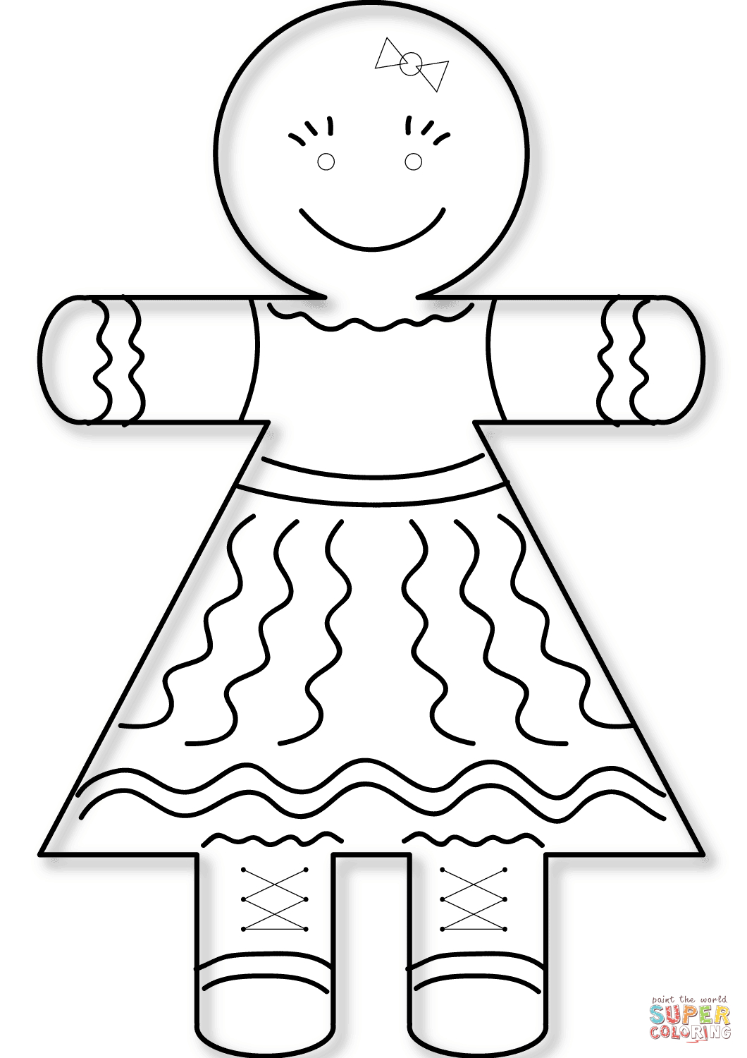 Gingerbread Girl Coloring Page | Free Printable Coloring Pages - Gingerbread Template Free Printable