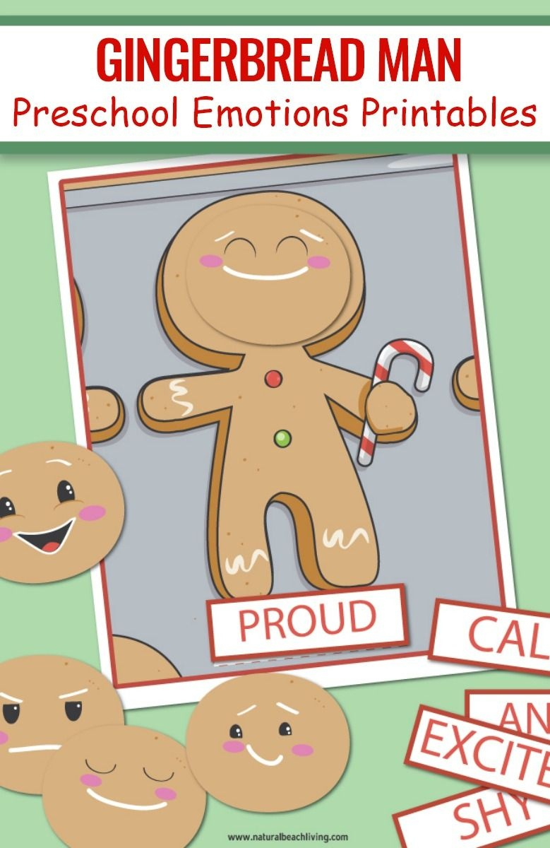 Gingerbread Man Preschool Emotions Printables | Natural Beach Living - Free Printable Gingerbread Man Activities