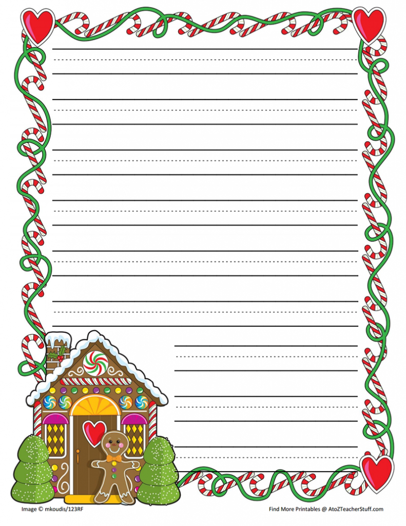 Gingerbread Printable Border Paper With And Without Lines   A To Z - Writing Borders Free Printable