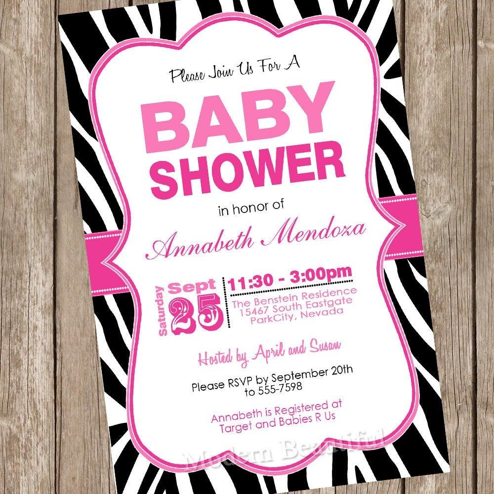 Girl Baby Shower Invitation Hot Pink And Black Zebra Baby | Etsy - Free Printable Zebra Baby Shower Invitations