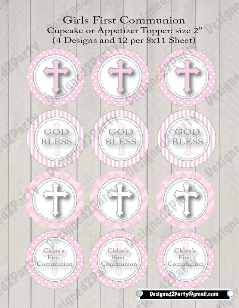 Girls First Communion Printable Or Baptism Cupcake Topper And   Etsy - Free Printable First Communion Cupcake Toppers