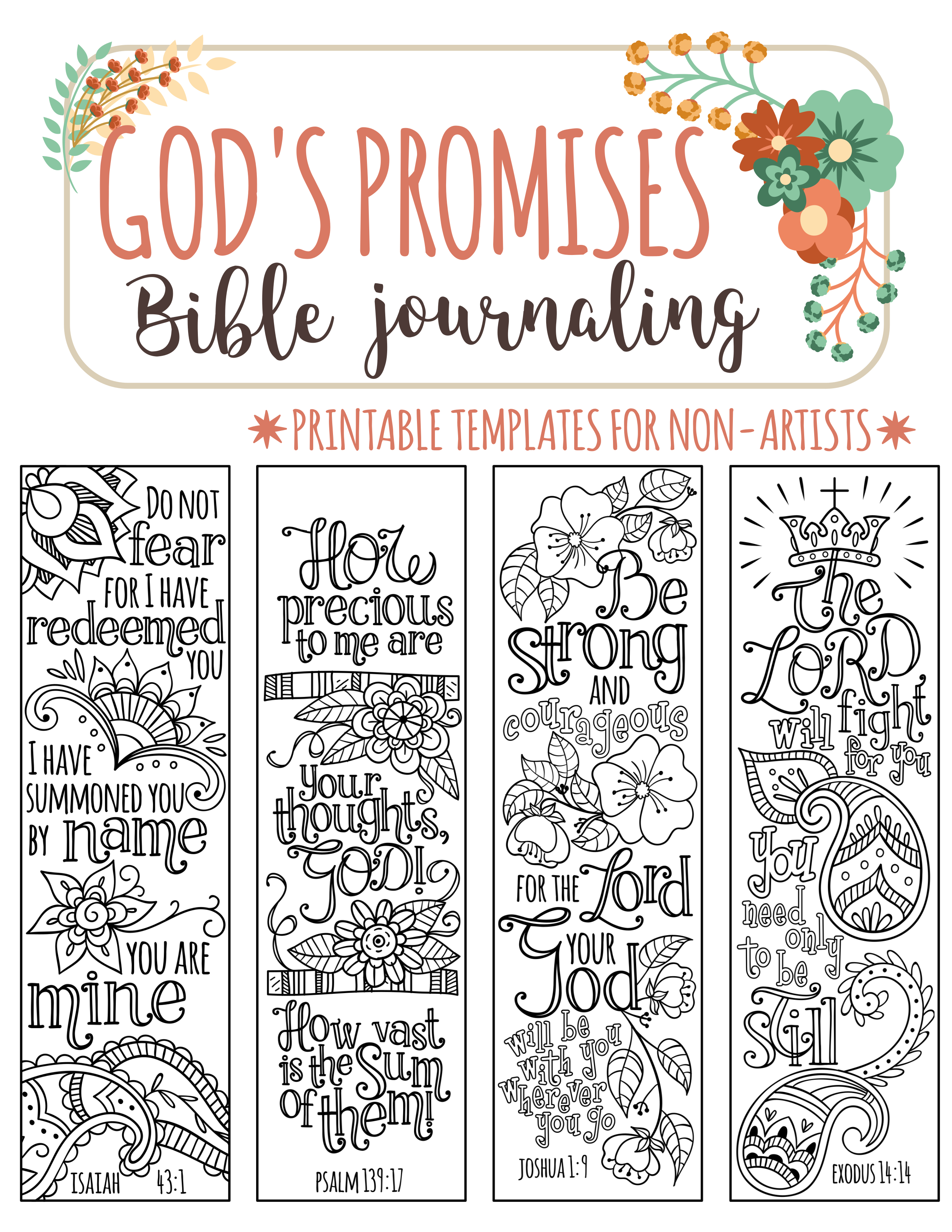 God's Promises - Bible Journaling Printable Templates, Illustrated - Free Printable Bible Bookmarks Templates
