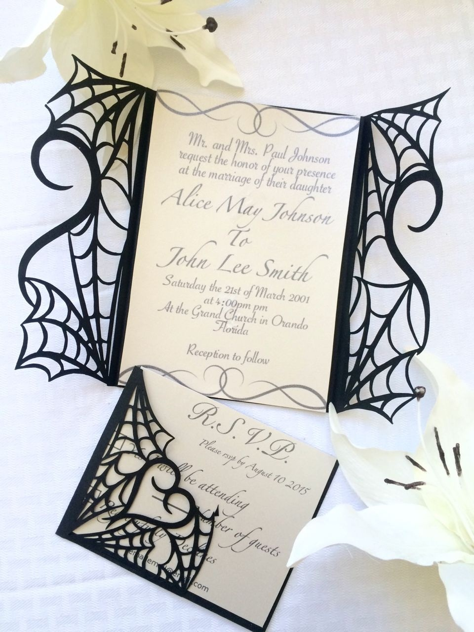Gothic Halloween Wedding Party Invitation Set On Etsy - Would Make - Free Printable Halloween Wedding Invitations