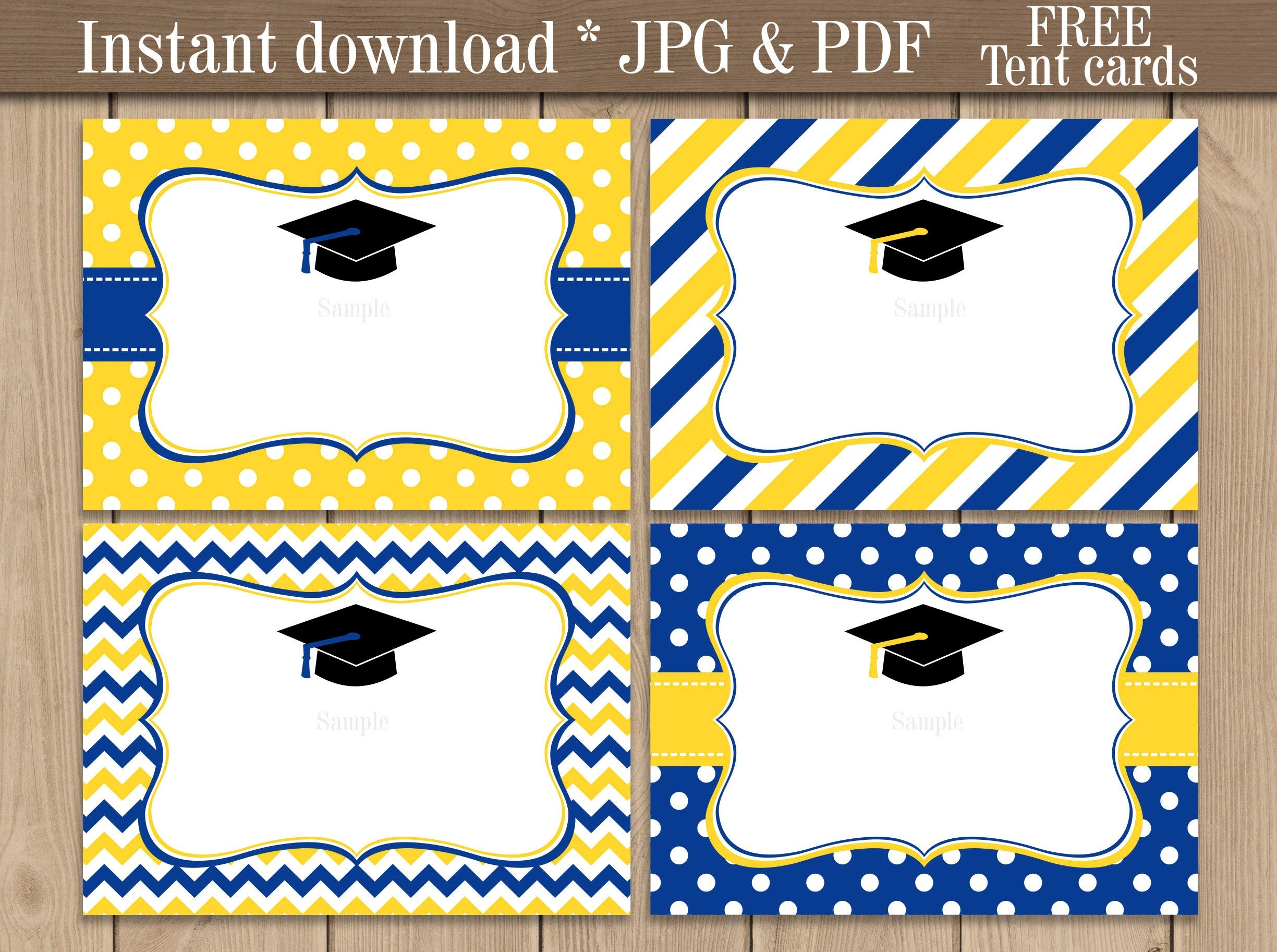 Graduation Food Labels. Blue And Yellow Graduation Candy | Etsy - Free Printable Buffet Food Labels
