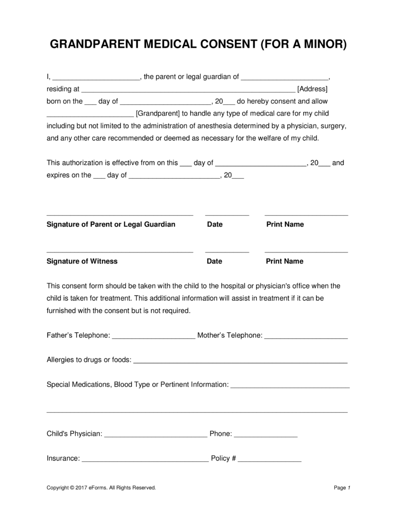 Grandparents' Medical Consent Form – Minor (Child) | Eforms – Free - Free Printable Child Guardianship Forms